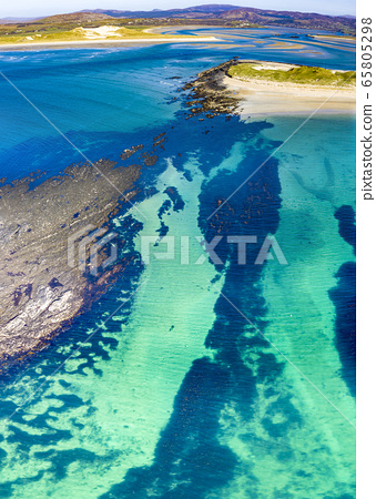 Aerial view of the Atlantic at Carrickfad by Portnoo in County Donegal - Ireland 65805298
