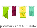 Bath towel. Cartoon towels vector set. Cloth towel for bath, illustration of cartoon fabric towel for hygiene 65808467