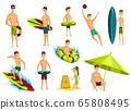 Summer beach activities. Collection of beach vacation people. Cartoon style figures 65808495