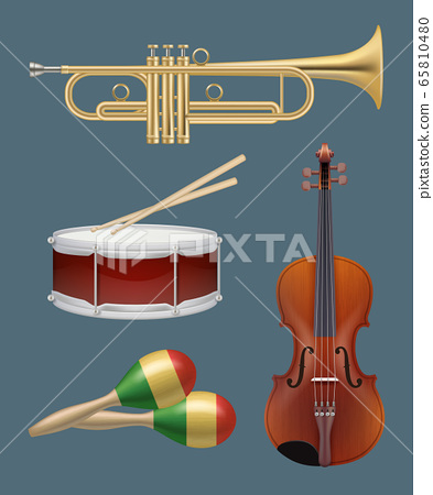 Musical instruments. Piano sax guitar and other handy instruments for music band vector realistic set 65810480