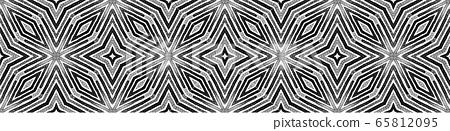 Dark black and white Seamless Border Scroll. Geome 65812095