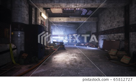 A post-apocalyptic deserted smoke-filled subway. The concept of a post-apocalyptic world. 3D Rendering. 65812727