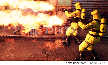 Men in yellow protective suits disinfect the city's infected territory with a flamethrower. People in bacteriological suits and gas masks. 3D Rendering. 65812733