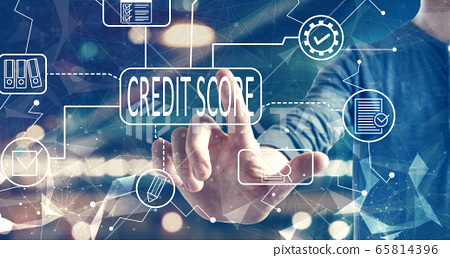 Credit score theme with a man on city background 65814396