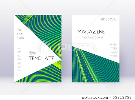 Triangle cover design template set. Green abstract 65815755