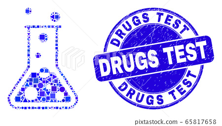 Blue Distress Drugs Test Stamp Seal and Chemical Retort Mosaic 65817658