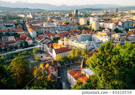 Panoramic view of Ljubljana city from Ljubljana Castle in Slovenia 65818559