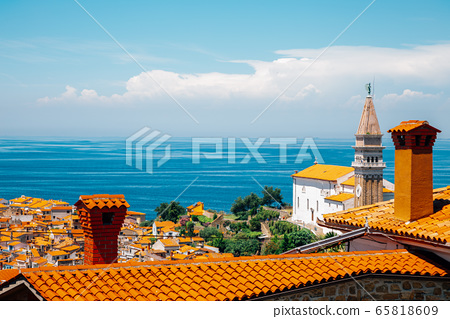 St. George's Parish Church and old town and Adriatic sea panorama view in Piran, Slovenia 65818609