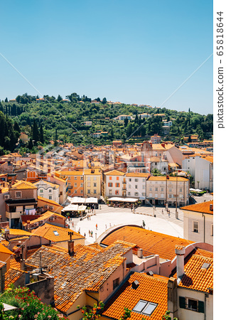 Old town Tartini square and Adriatic sea panorama view at summer in Piran, Slovenia 65818644