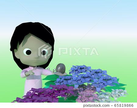 Hydrangea, snail and child 65819866