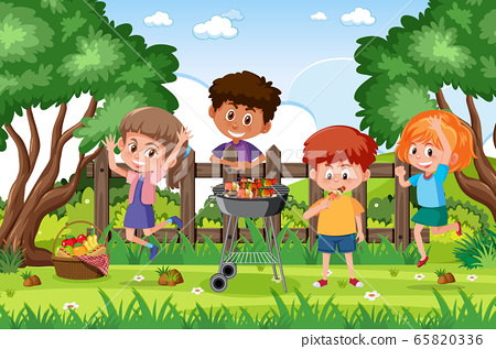Background scene with kids in the park 65820336