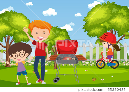 Background scene with kids in the park 65820485