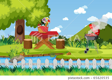 Scene with BBQ grill and food on picnic table 65820535