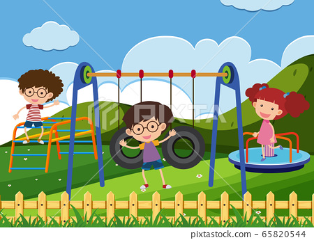 Scene with children playing in the park 65820544