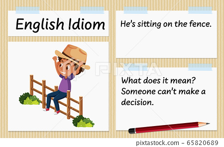 English idiom he's sitting on the fence template 65820689