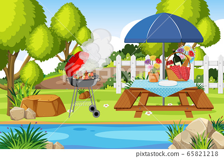 Scene with BBQ and food on the picnic table in the 65821218