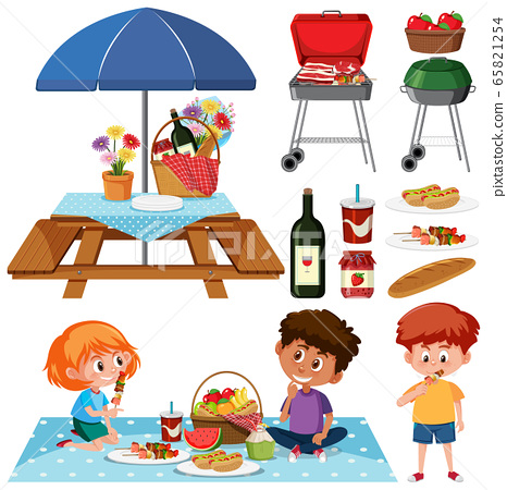 Picnic set with BBQ grill and food on white 65821254