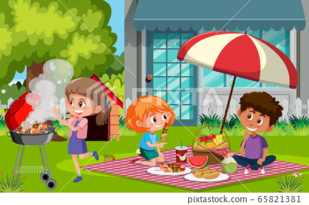 Scene with happy children eating food in the park 65821381