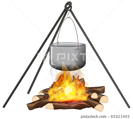 Campfire and cooking pot on stand on white 65821403