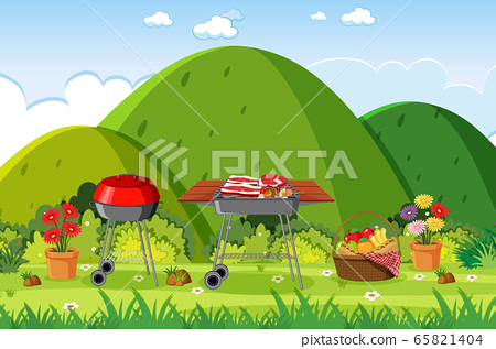 Background scene with BBQ in the park 65821404