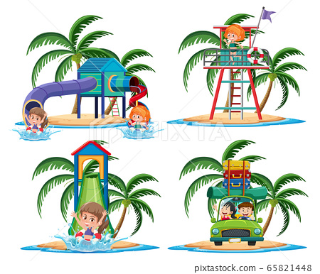 Group of activities on the tropical island cartoon 65821448