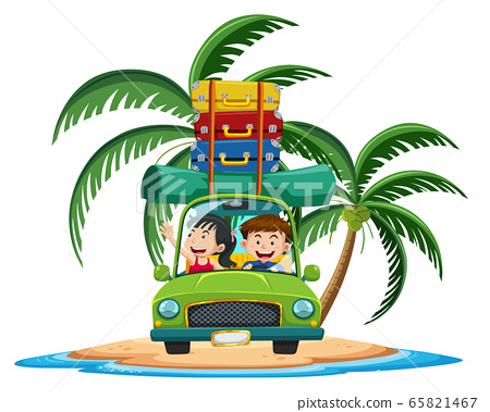 Family travelling on the tropical island cartoon 65821467