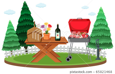 Picnic scene with food on the table and BBQ grill 65821468