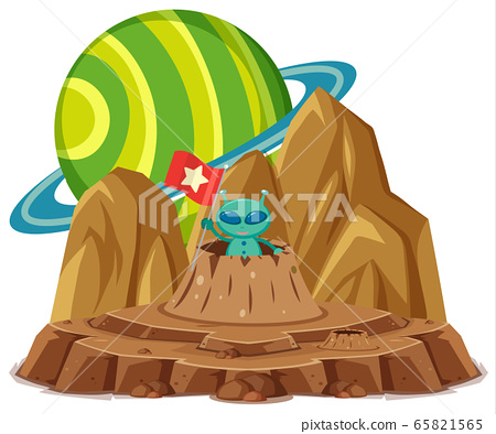 Green alien holding flag on the planet space on 65821565