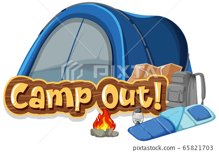 Font design for camp out with tent in the park 65821703