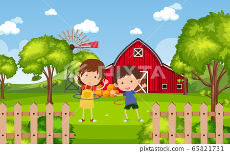 Background scene with kids playing in the park 65821731