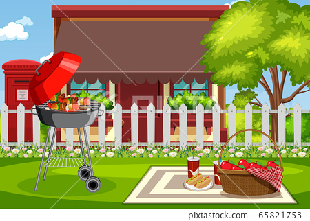 Background scene with barbecue in the park 65821753