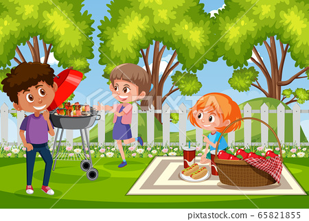 Background scene with happy children in the park 65821855