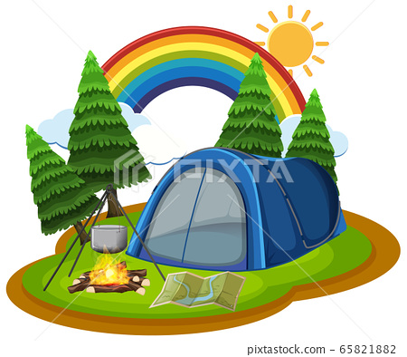 Scene with tent and campfire in the park 65821882