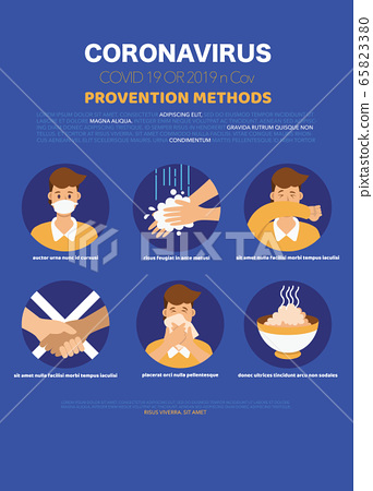 Coronavirus 2019-nCoV prevention icons set for 65823380