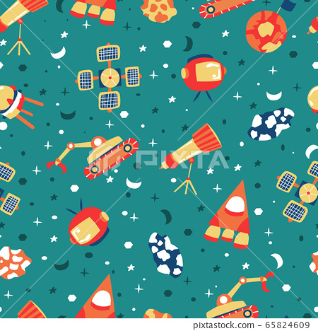 Seamless background with spaceships and stars, 65824609