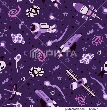 Seamless background with spaceships and stars, 65824620
