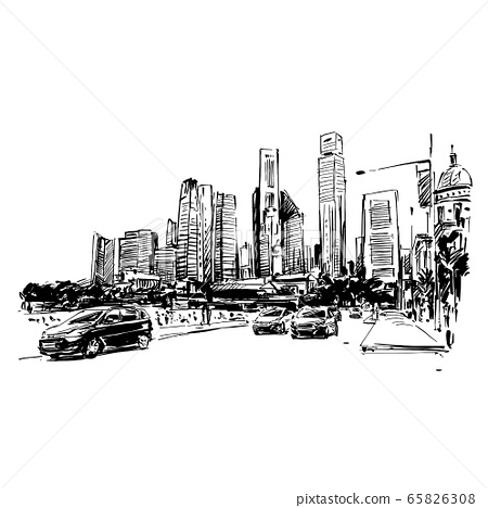 Drawing of cityscape in Singapore  65826308