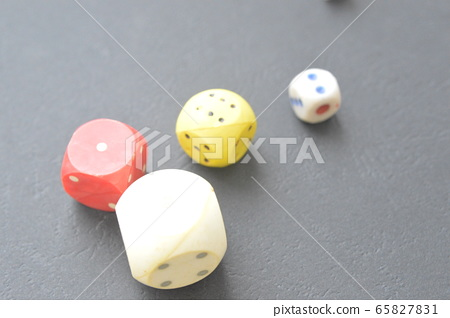 Game dice in the composition of different cubes on 65827831