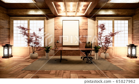 Wooden china Conference room interior with wood 65827962