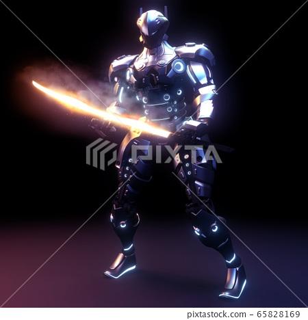 Ninja Sinobi robot fi - sci, Japanese anime. 3D 65828169