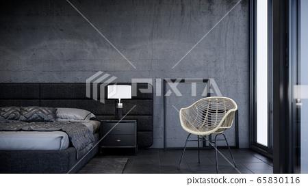 black bedroom concept with modern loft interior design, 3d render background 65830116