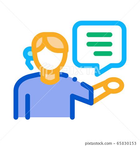 help desk representative icon vector outline illustration 65830153