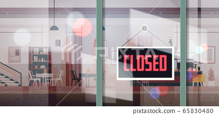 sorry we are closed sign hanging outside business office store shop or restaurant 65830480