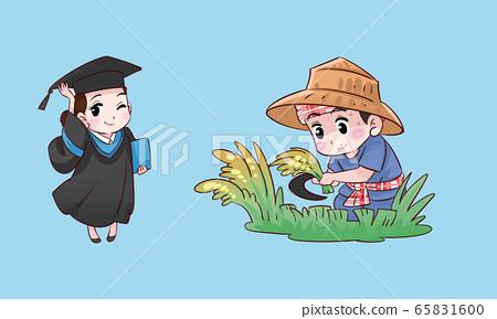 student girl and farmer boy thai cartoon 65831600