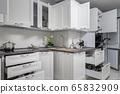 Simple and luxury modern white kitchen interior 65832909