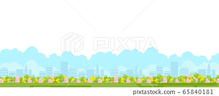 City park panoramic view with green garden 65840181