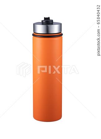 Orange mug, thermos, tumbler, white background 65840432