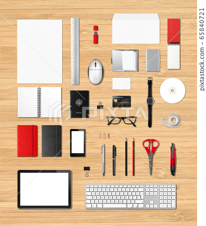Office supplies mockup template, wooden background 65840721