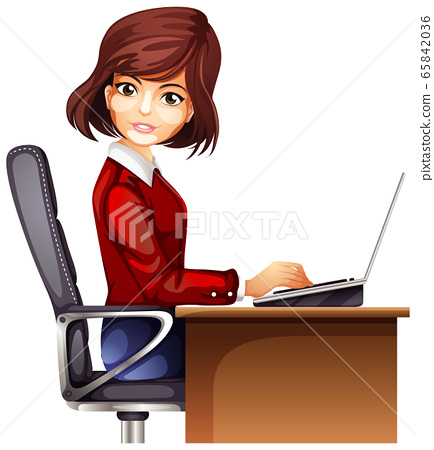 Office woman working on table 65842036