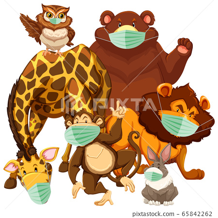 Wild animal cartoon character wearing mask 65842262